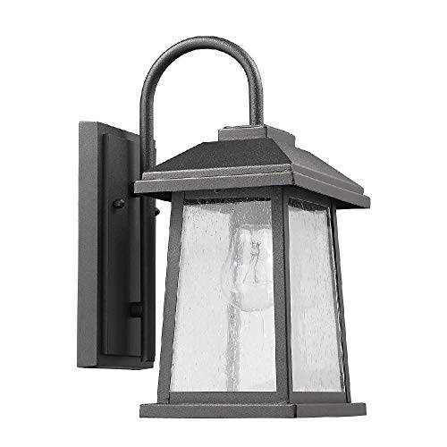 Edvivi Carina Textured Black Finish Outdoor Wall Sconce Rectangular Seeded Glass Lantern Lamp Light | Traditional Lighting