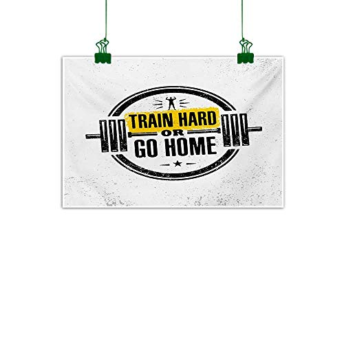 Mangooly Fitness,Mural Train Hard or Go Home Stamp Like Design Strong Sportsman Barbell Circle Photo Canvas PaintingBlack White Yellow W 47