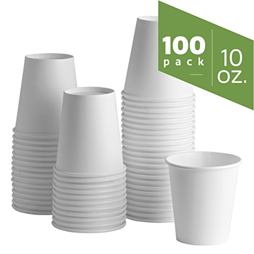 - 10 oz. (squat) White Paper Hot Cups [100 Pack] Coffee Cups