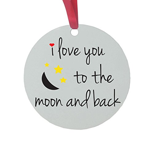 CustomGiftsNow I Love You to The Moon and Back - 3-inch White Glossy Aluminum Christmas Ornament with Red Ribbon
