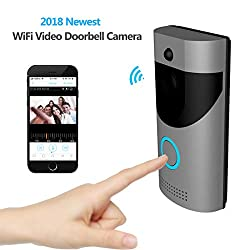 Kamre Smart Wireless Video Doorbell Hd 720p Home Security Camera With Free Cloud Services 166 Wide Angle Real Time Two Way Talk And Video Pir Motion Detection Night Vision Built In Two Batteries