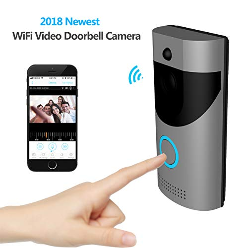 KAMRE Smart Wireless Video Doorbell, HD 720P Home Security Camera with Free Cloud Services/166° Wide Angle/Real-Time Two-Way Talk and Video/PIR Motion Detection/Night Vision, Built-in Two Batteries ()