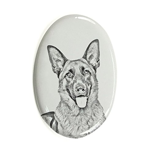 German Shepherd, Oval Gravestone from Ceramic Tile with an Image of a Dog