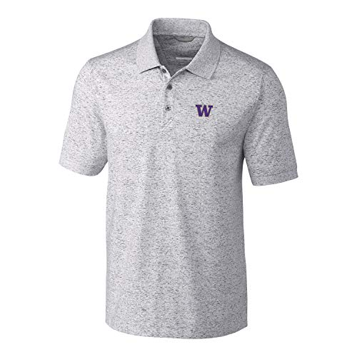 Cutter & Buck NCAA Washington Huskies Mens Short Sleeve Space Dye Advantage Polo, Elemental Grey, 3X-Large