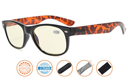 Reduces Eyestrain,Anti Blue Rays,UV Protection Computer Reading Glasses Mens Womens(Demi-Arm,Amber Tinted Lenses) - Reading Arms Without Glasses