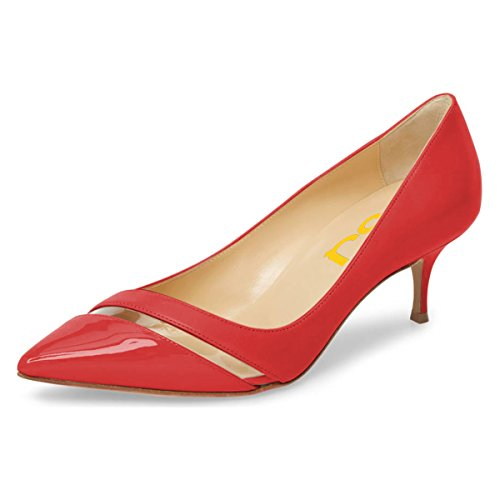 outlet find great FSJ Women Comfy Clear Pointed Toe Pumps Kitten Low Heels Slip On Office Lady Shoes Size 4-15 US Red buy cheap visit new visit sale online 9pcxMwH09
