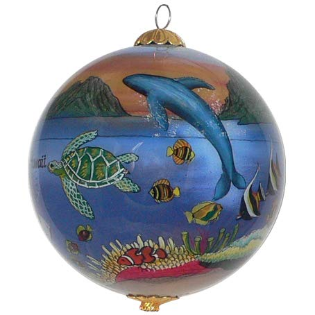 Collectible Hawaii Ornament Glass Hand Painted with Gift Box Showing a Magical Sunset Scene MS/H (Ornaments Dolphin Glass)
