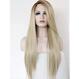 K'ryssma Fashion Ombre Blonde Glueless Lace Front Wigs 2 Tone Color Light Brown Roots #12 Side Part Long Natural…