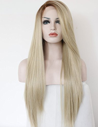 (K'ryssma Fashion Ombre Blonde Glueless Lace Front Wigs 2 Tone Color Light Brown Roots #12 Side Part Long Natural Straight Heat Resistant Synthetic Hair Replacement Wig For Women Half Hand Tied)