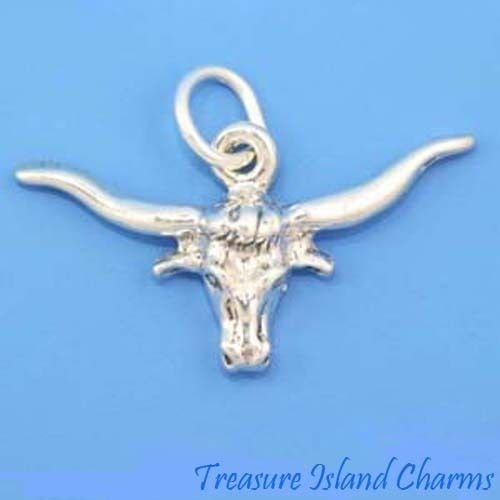 Texas Longhorn Head .925 Solid Sterling Silver Charm Pendant Cattle Steer Jewelry Making Supply Pendant Bracelet DIY Crafting by Wholesale Charms]()