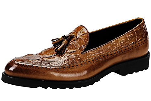Santimon Mens Shoes Tassel Penny Loafer Leather Alligator Crocodile Print Dress Slip On Oxfords Shoes by Tan 10.5 D(M) US - Crocodile Leather Shoes