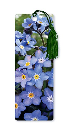 Dimension 9 3D Lenticular Bookmark with Tassel, Purple Forget-Me-Not Flowers - Bookmark Purple Flower