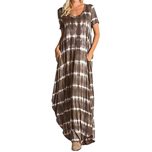 FEITONG Women's Casual Striped Maxi Short Sleeve Split Tie Dye Long Dress with Pocket(2XL,Brown) by FEITONG