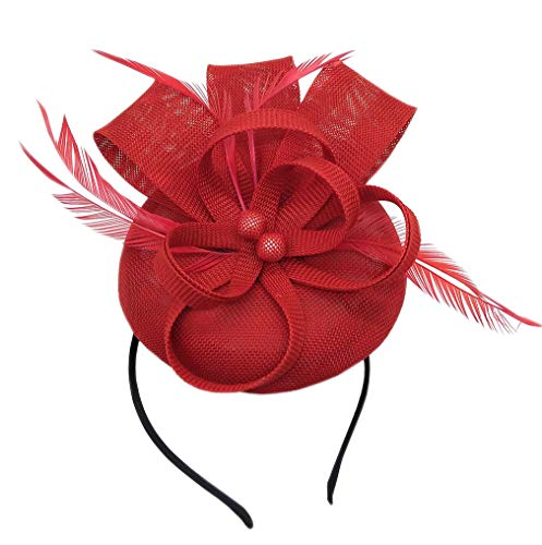 Women's Fascinator Hat Imitation Sinamay Feather Tea Party Pillbox Flower Derby (Red) ()