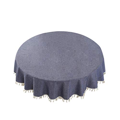 """SANGNI Tablecloth-59"""" Inch Round Tablecloths for Circular Table Cover in Washable Cotton Blended,Linen Antependium Table Cover for Kitchen Dinning Tablet,Table Cover for Kitchen Dinning (Navy)"""