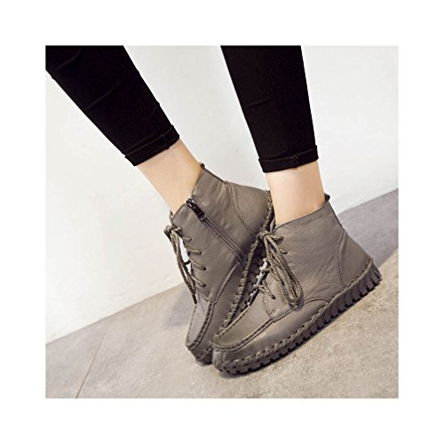 Ankle Women's Khaki Daily Boots Leather Genuine UPSUN TR7w4qA