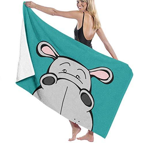 VIMMUCIR Beach Towels for Women Men Hippo Animal Cartoon Bath Towels Quick Dry Multipurpose Travel Pool Blanket Large 31x51 Inches (Hippo Travel Blanket)