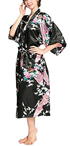 SexyTown Women's Long Floral Peacock Kimono Robe Satin Nightwear With Pockets X-Large Black