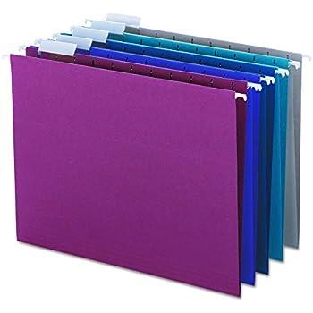 Smead 64056 Designer Assortment Hanging Folders, 1/5 Tab, 11 Point Stock, Letter (Box of 25)