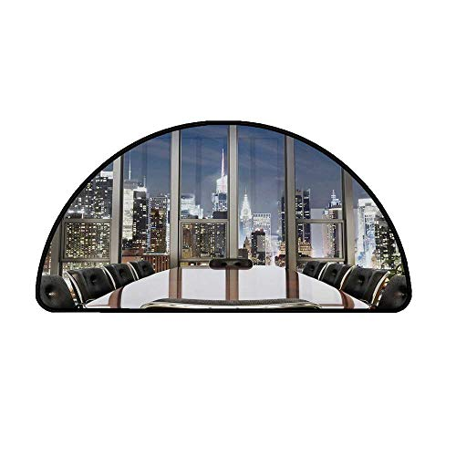 Modern Decor Comfortable Semicircle Mat,Business Office Conference Room Table Chairs City View at Dusk Realistic for Living Room,35.4
