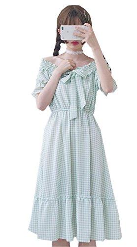[イダク] レディース 夏 森ガール ゆったり可愛い 文学少女 Aライン 通学 通勤 大きいサイズ オフショルダー ワンピース