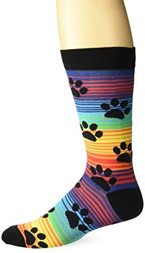 K. Bell Socks Men's Casual Animal Novelty Crew Socks, Paw Prints (Rainbow), Shoe Size: -