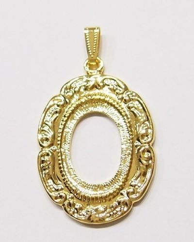 Scroll Pendant Setting - 4 Pcs of Gold Victorian Vintage Deco Style Scroll Pattern Pendant Settings