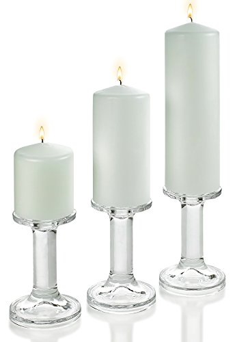 "3 Glass Round Shaped Candle Holders 5.5"" with Set of 3 White Pillar Candles 3x3"" 3x6"" 3x9"""