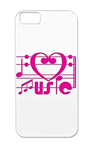 I LOVE MUSIC Pink For Iphone 5c Notation Score Music Piano Note Miscellaneous Classic Music Art Illustration Keyboard Musical Case