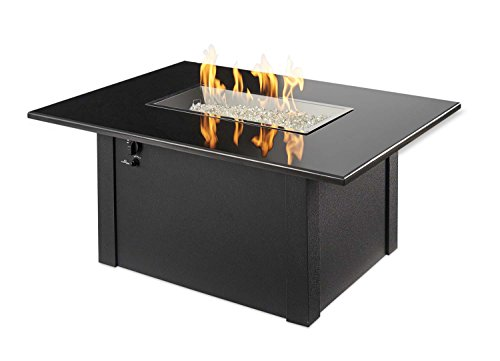 Outdoor Great Room Grandstone Crystal Fire Pit Table with Napa Valley Black Base and Absolute Black Granite Top