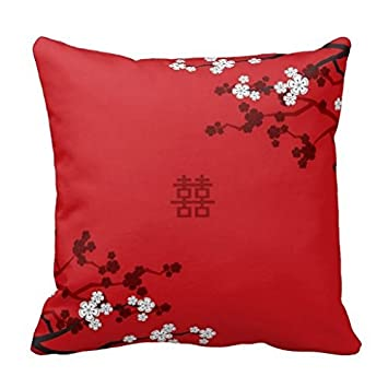 Amazon 18 x 18 cherry blossoms double happiness chinese 18quot x 18quot cherry blossoms double happiness chinese wedding decorative throw pillow junglespirit Images