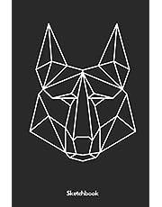 Polygon Schakal Sketchbook: A5 Skizzenbuch Sketchbook Notizenbuch Erinnerungsbuch Zeichenbuch Scrapbook Geschenk für Studenten, Comiczeichner, ... Künstler, Männer, Frauen und Kinder.