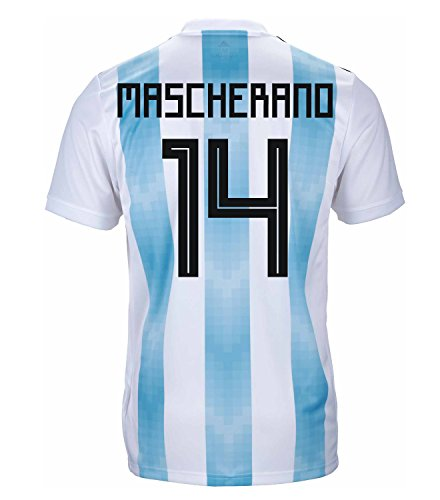 adidas MASCHERANO #14 Argentina Official Youth Home Soccer Jersey World Cup Russia 2018 (YM)