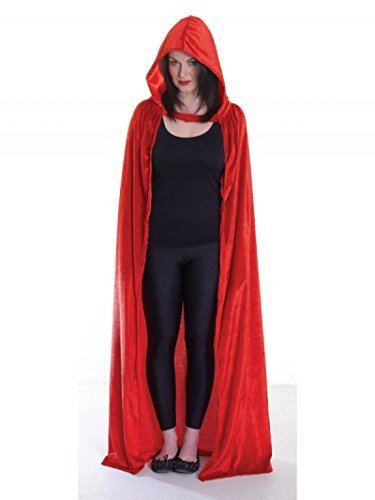 [Red Gothic Hooded Velvet Cloak luxury Halloween- One Size - Adult - Little Dead Riding Hood by Beautiful] (Halloween Little Dead Riding Hood Costume)