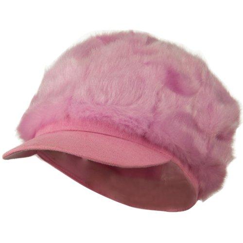 Silky Faux Fur Newsboy Hat...
