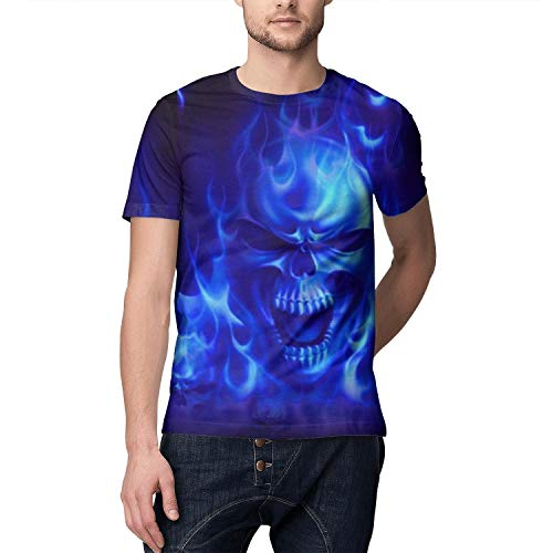 Men's 3D Print Short Sleeve T-Shirt Blue Flames Skull Wallpaper Crew Neck Creative Tee