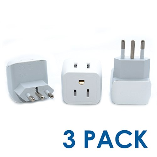 Ceptics USA to Italy Travel Adapter Plug - Type L - Dual Inputs - Ultra Compact