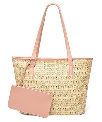 (ilishop Women's Straw Handbags Set, Beach Tote Bag PU Leather Shoulder bag Purse Handmade Summer (Pink))