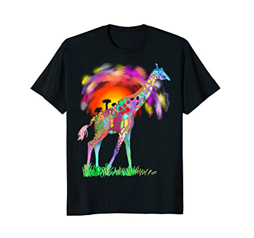 Colorful Rainbow Tribal Giraffe Africa - Green Rainbow Design