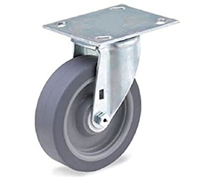 "Swivel Plate Caster with Gray Rubber 4"" x 1-1/2"" Wheel and 4"" x 4-1/4"" Top Plate"