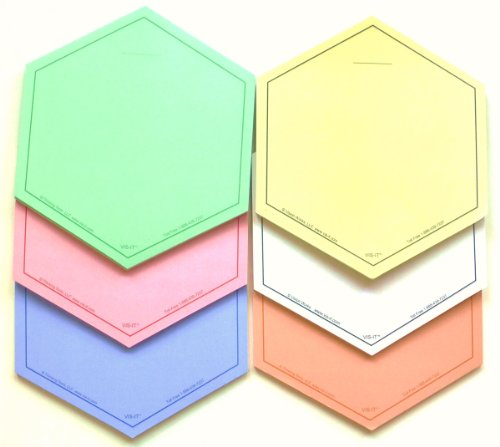 - 6-Inch Hexagon Sticky Note Pads Set (6 Colors, 50 Sheets Per Pad)