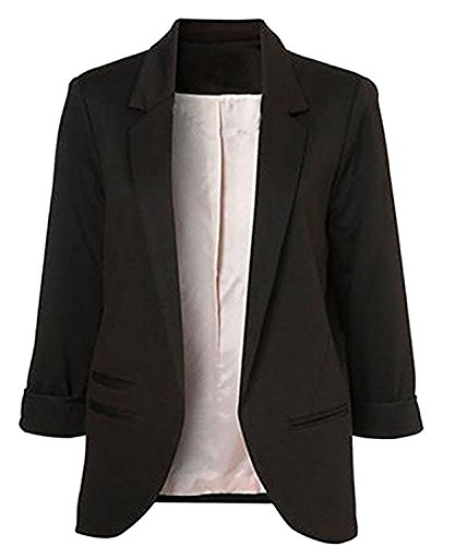 Lihuang Women's Cotton Rolled Up Sleeve No-Buckle Blazer - Wetsuit Fit Guide