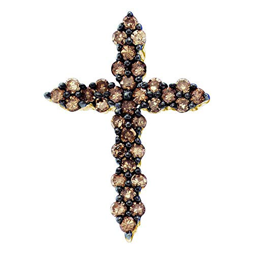 Chocolate Diamond Pave - Jewel Tie Solid 10k Yellow Gold Round Chocolate Brown Diamond Cross Pendant (1/2 Cttw.)
