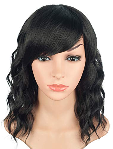 Natural Looking Medium Long Wavy Wigs For Black Women Short Bob Hairstyle Synthetic Heat Resistant Curly Wigs With Free Cap Net (Natural Black-01)