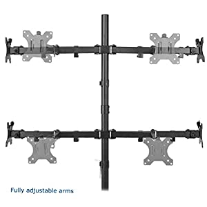 "VIVO Quad LCD Monitor Desk Mount Stand Heavy Duty Fully Adjustable fits 4 /Four Screens up to 27"" (STAND-V004)"