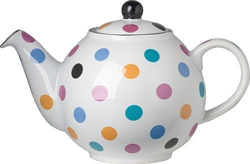 White Multicolor Polka Dot Ceramic Globe 6 Cup Teapot by London Pottery