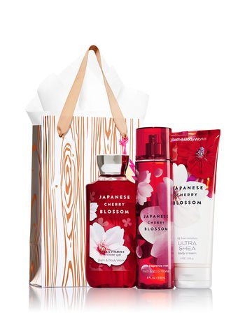 Bath Blossom Natural (Bath & Body Works Japanese Cherry Blossom Rose Gold & Natural Gift Kit, Body Cream, Shower Gel & Fragrance Mist - Full Sizes )