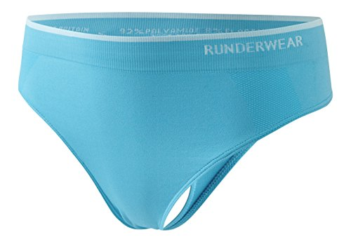 Runderwear Womens Seamless Thong G-string Running & Sports Fast Drying Anti-chafing (Medium, Cyan Blue)