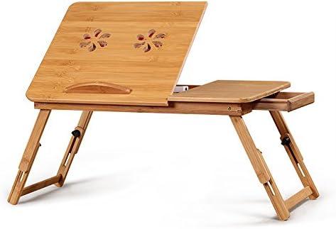 折りたたみテーブル ポータブルデスクトップノートラジエーターブラケット/竹折りたたみブラケットベース多目的折りたたみテーブル ベッド、ソファ、オフィスに最適