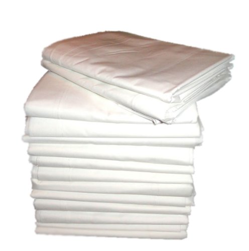 Atlas 24-Pack Massage Table Flat Draw Sheets, White Linen, 54x90'', 180 Thread Count Percale T-180 by Atlas